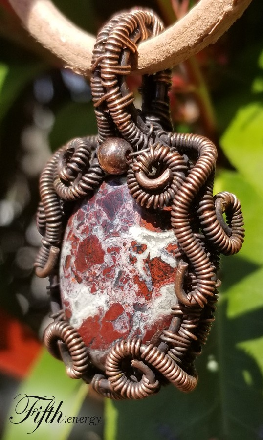 Fifth Energy Jewelry Red Brecciated Jasper Pendant Necklace