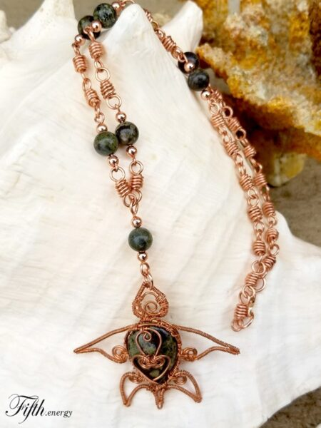 Fifth Energy Jewelry Sea Turtle - Dragons Blood Jasper Necklace