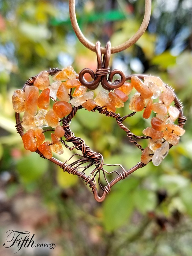 Fifth Energy Jewelry Sunstone Citrine Tree of Life Heart Pendant