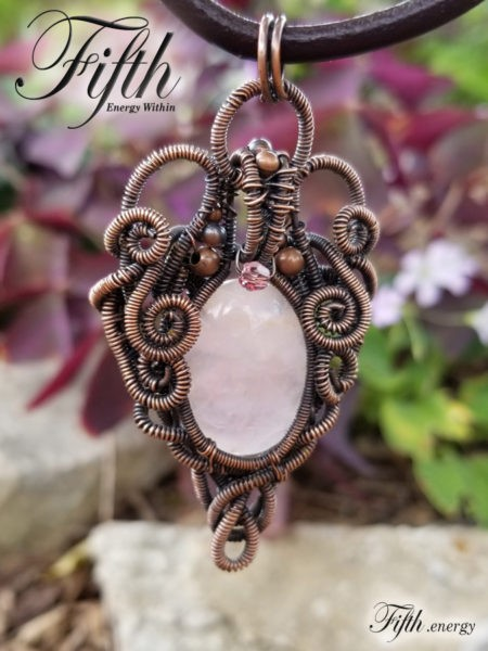Rose Quartz Copper Necklace Fifth Energy