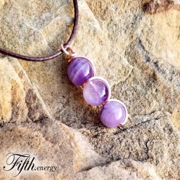 Natural Amethyst Drop Pendant Necklace Fifth Energy Jewelry