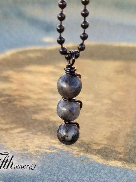 Larvikite Drop Pendant Necklace Fifth Energy Jewelry