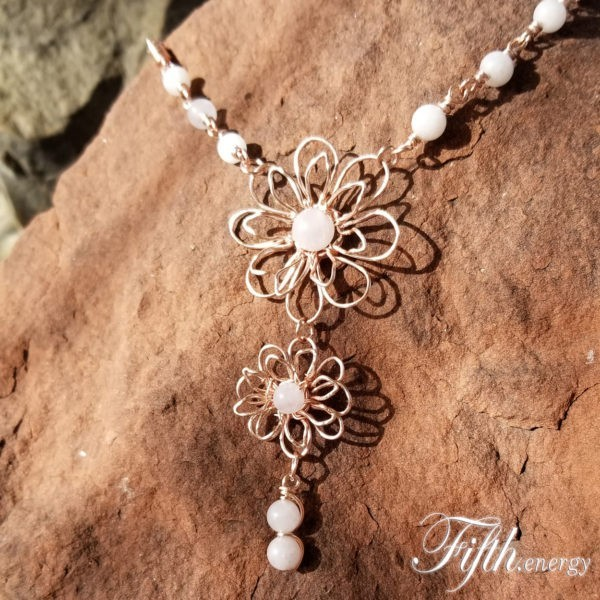Rose Quartz Gemstone Flower Necklace Fifth Energy Jewelry