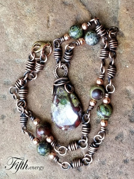 Dragons Blood Gemstone Necklace Fifth Energy Jewelry