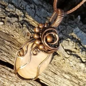 UV Reactive Tumbled Petrified Wood Pendant Necklace