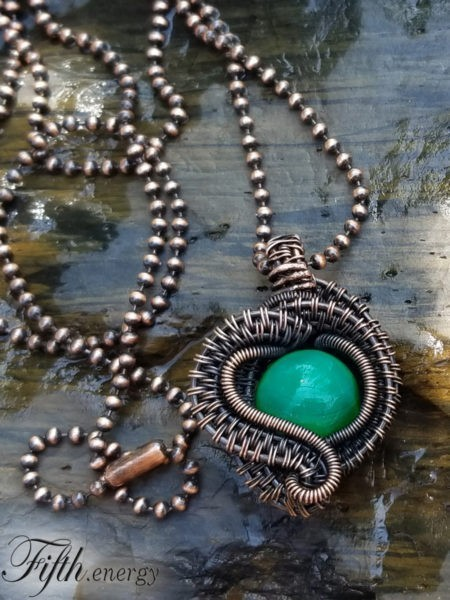 Fifth Energy Jewelry African Peacock Agate Necklace