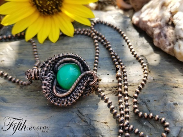 Fifth Energy Jewelry Peacock Agate Necklace