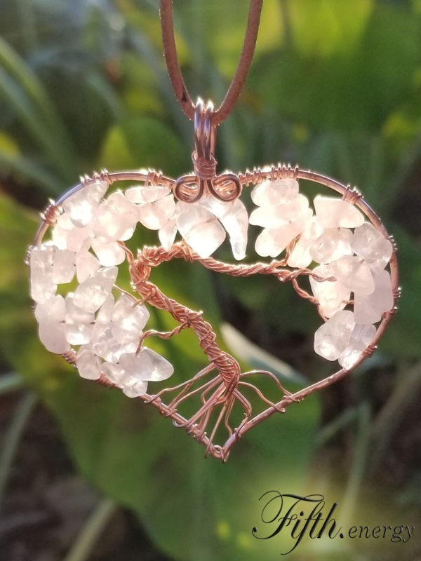 Rose Quartz Tree of Life Necklace Fifth Energy
