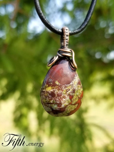 Dragons Blood Jasper Gemstone Necklace Fifth Energy Jewelry