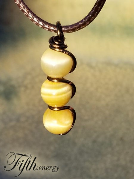 Honey Tigers Eye Drop Pendant Necklace Fifth Energy Jewelry