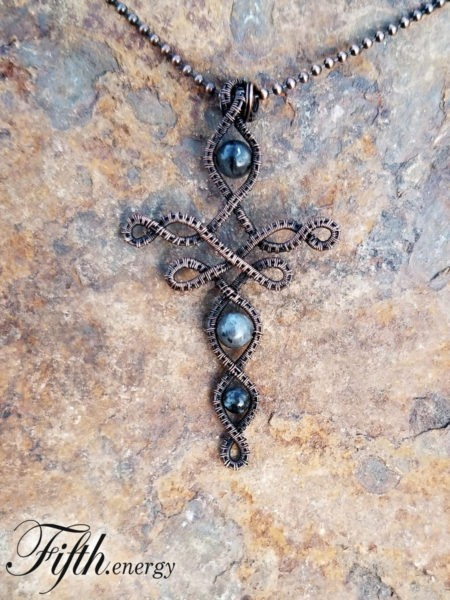 Larvikite Celtic Cross Necklace Fifth Energy Jewelr