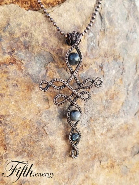 Larvikite Celtic Cross Necklace Fifth Energy Jewelr