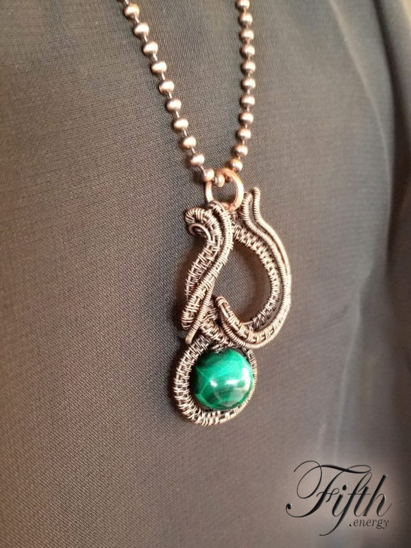 Malachite Caligraphy Copper Necklace Fifth Energy Jewelry