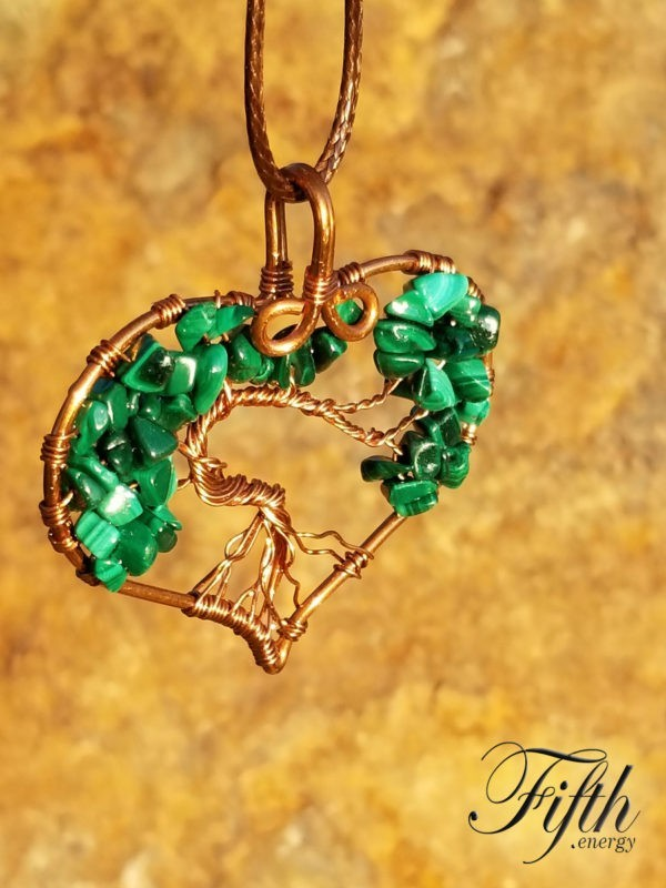 Malachite Tree of Life Necklace Fifth Energy Jewelry