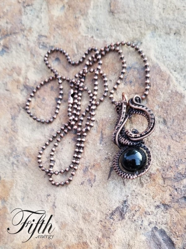Obsidian Copper Necklace Fifth Energy Jewelry