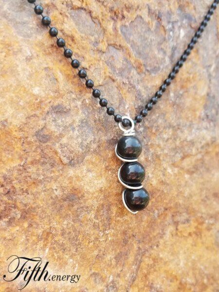 Obsidian Gemstone Drop Pendant Fifth Energy Jewelry