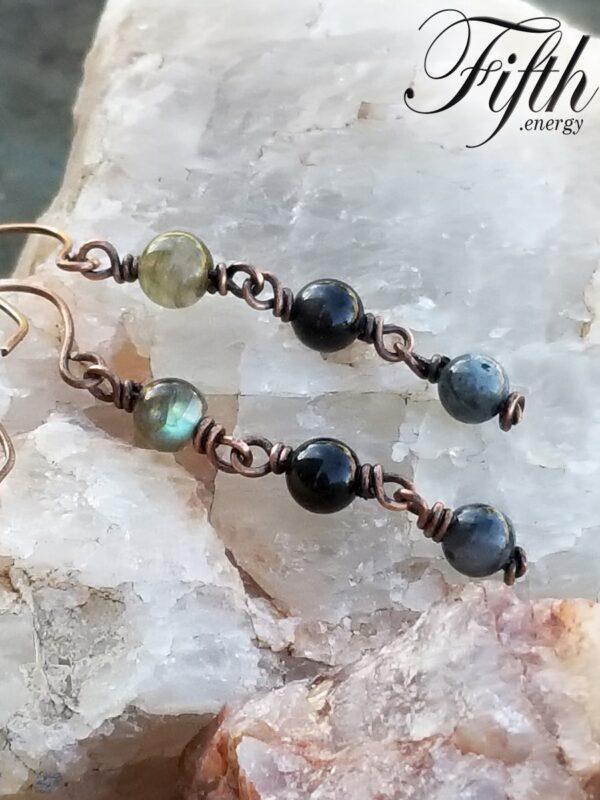 Obsidian Larvikite Labradorite Necklace Fifth Energy Jewelry
