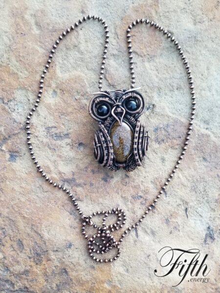Owl Obsidian Bronzite Necklace Fifth Energy Jewelry