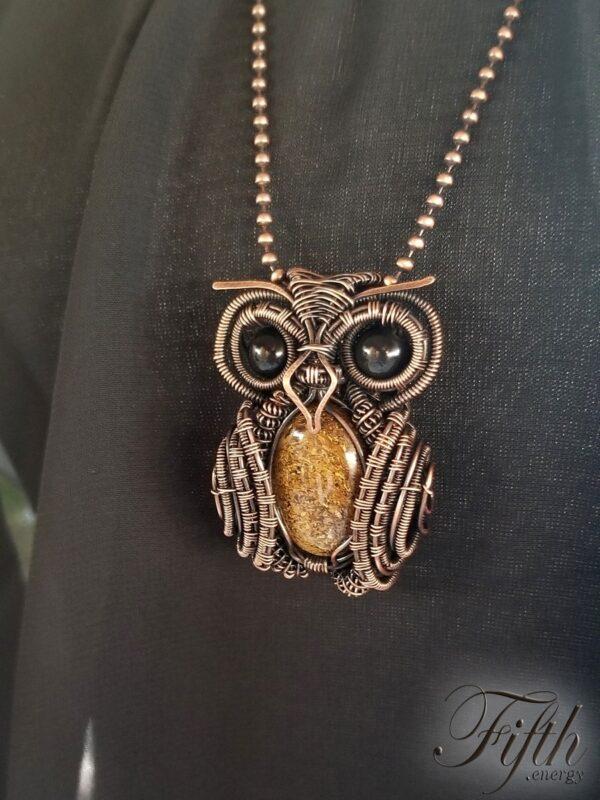 Owl Obsidian Bronzite Necklace Fifth Energy Jewelry 4