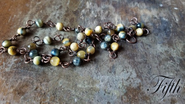 Blue Yellow Tigers Eye Necklace Fifth Energy Jewelry