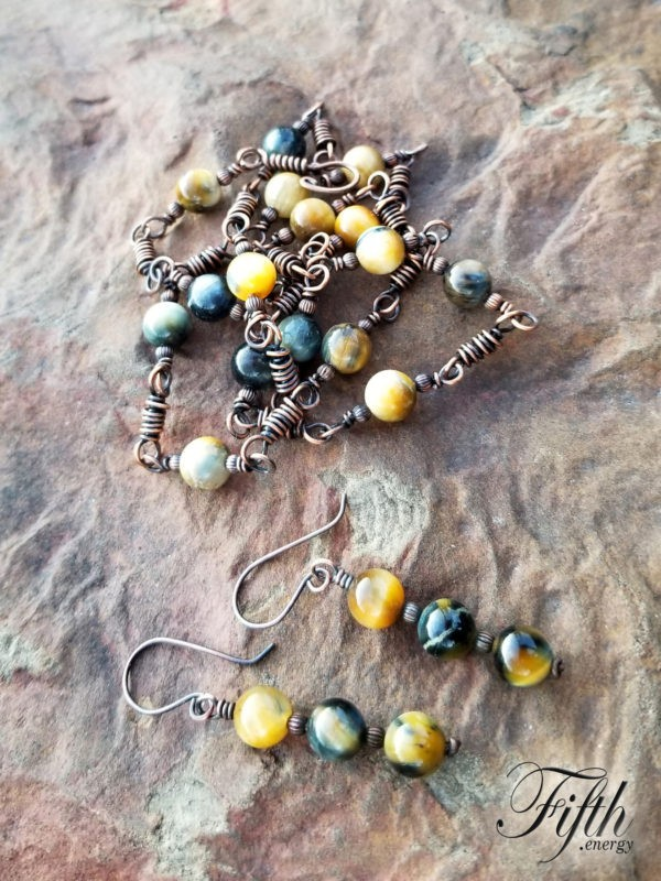 Linked Blue Golden Tigers Eye Copper Necklace Fifth Energy Jewelry