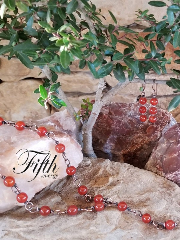 Red Carnelian Copper Chain Necklace Fifth Energy Jewelry