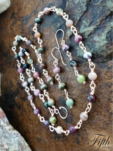 Tourmaline on Copper Chain Fifth Energy Jewelry