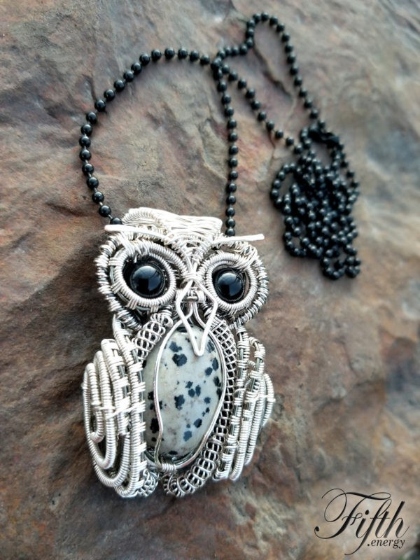 Obsidian and Dalmatian Stone Owl Necklace Fifth Energy Jewelry