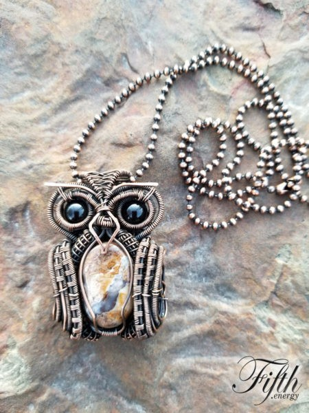 Obsidian and Fossilized Wood Owl Necklace Fifth Energy Jewelry