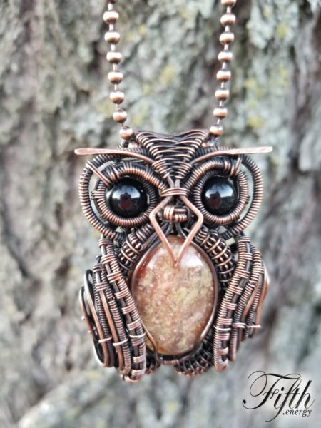 Obsidian and Gneiss Owl Necklace Fifth Energy Jewelry