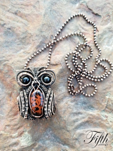 Rainbow and Mahogony Obsidian Owl Necklace Fifth Energy Jewelry