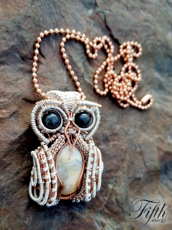 Snow Owl Necklace Fifth Energy Jewelry