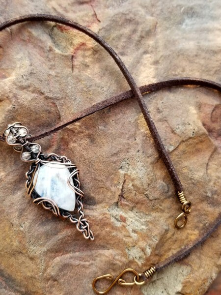 Twisted Heart Moonstone Necklace Fifth Energy Jewelry 1