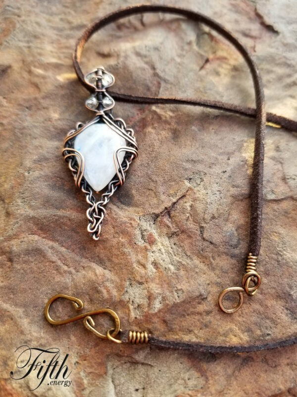Twisted Heart Moonstone Necklace Fifth Energy Jewelry 2