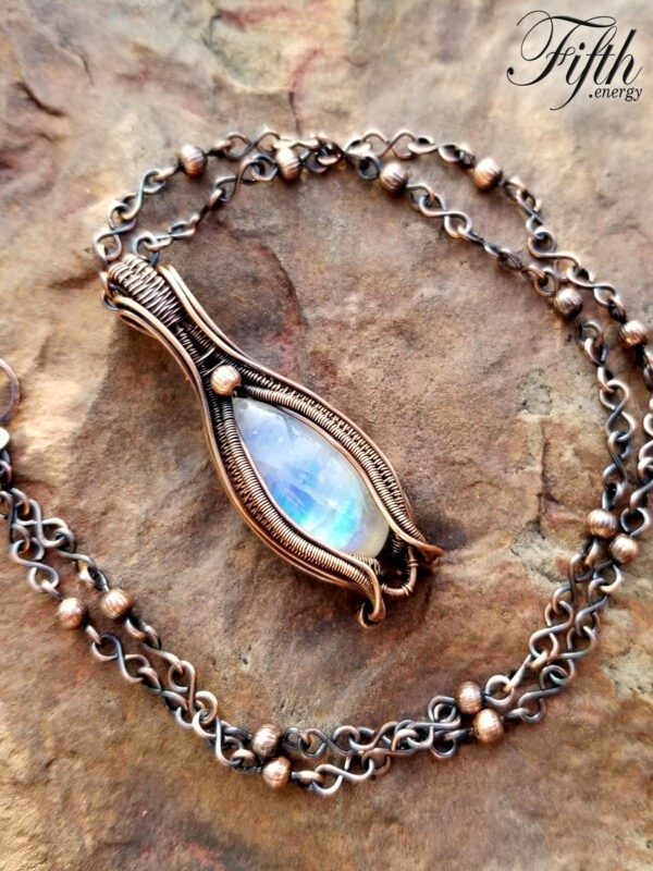 Blue Flash Moonstone Necklace Fifth Energy Jewelry 1