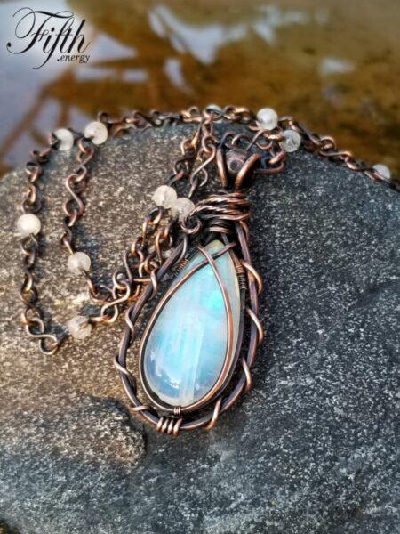 Teardrop Moonstone Necklace Fifth Energy Jewelry 3