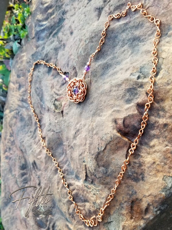 Amethyst Flower Necklace Copper Fifth Energy Jewelry