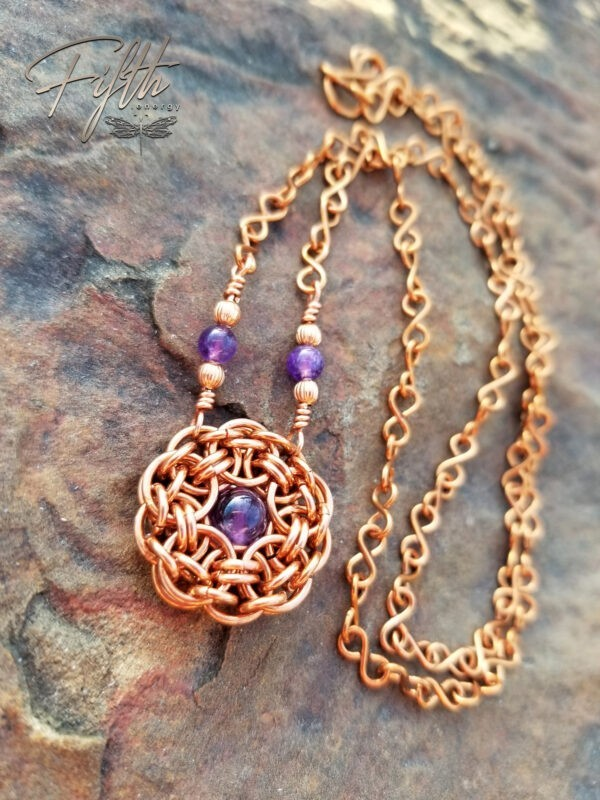 Amethyst Flower Necklace Copper Fifth Energy Jewelry 4