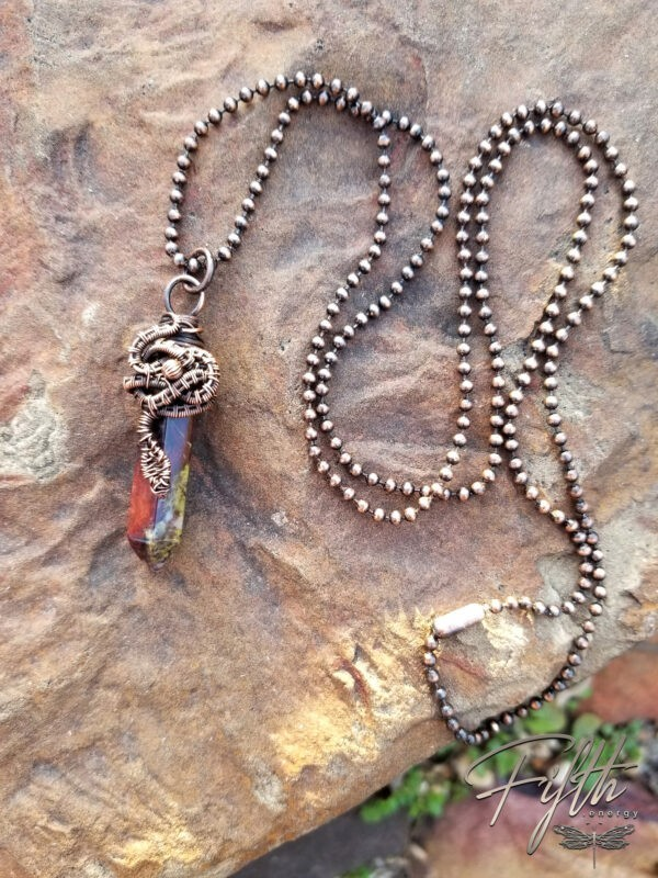 Serpent Wrapped Dragon Blood Jasper Point Necklace Fifth Energy Jewelry 2