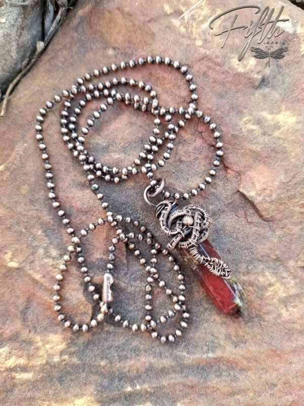 Serpent Wrapped Dragon Blood Jasper Point Necklace Fifth Energy Jewelry 3