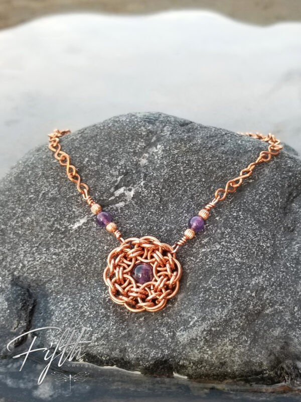 Amethyst Flower Necklace Copper Fifth Energy Jewelry 6